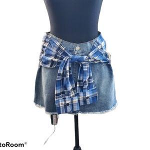 Design Lab Blue Jean Skirt w/ Plaid Flannel Detail